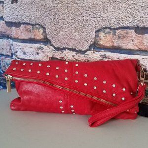 Flap Over Sequin Red Clutch Wristlet